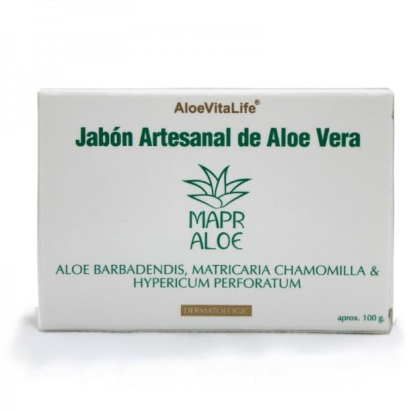 Mapr Aloe AloeVitaLife Sapone Artigianale all'Aloe Vera Aloe Barbadendis, Matricaria Chamomilla & Hypericum Perforatum